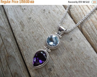 ON SALE Amethyst and blue topaz necklace in sterling silver