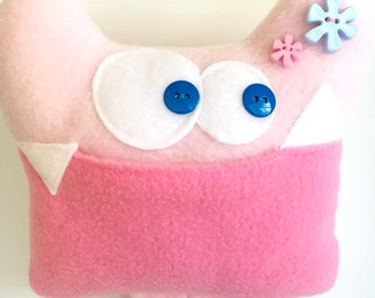 Tooth Fairy Pillow - Girl Tooth Fairy Pillow - Monster Plush - Keepsake - Tooth Fairy - Tooth Chart - Tooth Pillow - Pink Tooth pillow