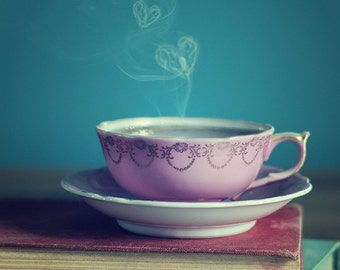 Teacup Photograph, Fine art photography, Love, hearts, smoke, valentines, old books, Print, photograph, photo, retro, gift for her, tea