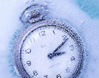 Still Life, Fine Art Photograph, Photography, Frozen, Pocket Watch, Photo, Print, Art, Blue, Vintage, Time, Ice, Clock, Numbers, Photography