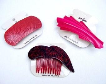 3 vintage Karina hair accessories barrettes hair combs 1980s hot red theme hair slide hair clip hair ornament (AAH)