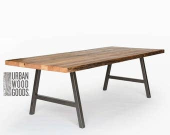 "Urban Industrial 2"" thick reclaimed wood table, natural finish in first pic-your choice of leg style, color, size, top thickness/finish"
