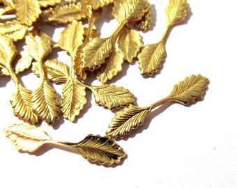 VINTAGE Fold Over LEAF Bails Gold Leaf Bails Twenty (20) 22mm Fold Over Leaf Bails Vintage Jewelry Findings Supplies (N89)