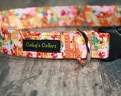 "Dog Collar, Dog Collars, Floral Dog Collar, Girl Dog Collar, Boy Dog Collar, Orange Dog Collar, Modern Dog Collar, ""The Abigail"""