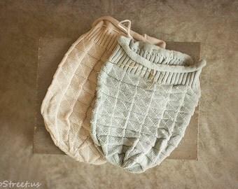 Newborn Sack, Tan Cocoon, Gray Baby Wrap, Newborn Props, Baby Boy Girl Wrap, Bag, RTS, Knit Wrap, Knit Cocoon, RTS, Natural Props