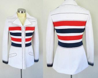 1960s Mod Lilli Ann Blazer // Rare Red White Blue Mid Century Fitted Designer Jacket