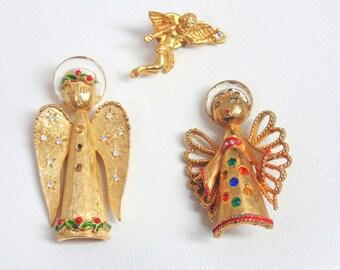 Christmas PIN. Brooch Lot. Angel Pin. Angel Pins. ART. Christmas Angel Pin. Rhinestone Angel. Christmas Angel. Brooch. 3 pc lot. 1960s