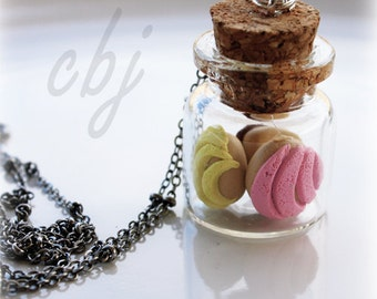 Concha Necklace, 3 conchas in a jar charm necklace, Concha Jewelry