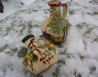 Vintage Vermont Maple Syrup Hand Painted Pottery Syrup Jugs Lot of 2 Old Folk Pottery Syrup Servers Serving Home Decor