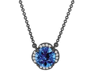 Blue Topaz And Diamonds Solitaire Pendant Necklace Flower 14k Black Gold Vintage Style 1.92 Carat Certified Handmade