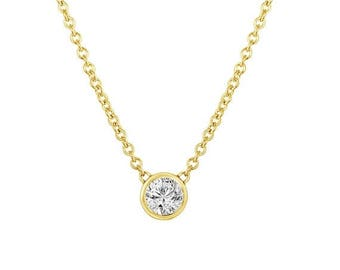 ON SALE 0.53 Carat GIA Solitaire Diamond Pendant Necklace Diamond By The Yard 14k Yellow Gold Gvs2 Handmade Low Bezel Set Certified