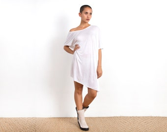 White Off the Shoulder Dress - TShirt Dress - Tunic Dress - White Tshirt Dress