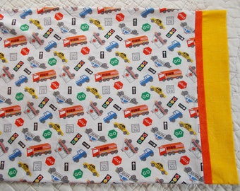 Cars and Trucks Childrens or Travel Pillowcase