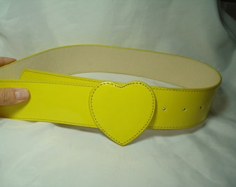 Vintage Bright Yellow Patent Leather Like DELIAS Belt.