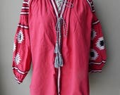 Reserved for ryozue : Romanian Peasant Embroidered Top Blouse Bust 46
