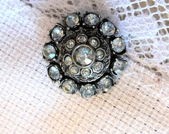 Blue Rhinestone Silver Button, Vintage,  Circa 1930, Stones are hand Set, 23mm, Jewelry Art, Button Jewelry, refurbish, metal shank