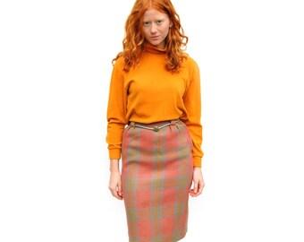 Peach/grey/mustard plaid knee length midi skirt PETITE 1970s 70s VINTAGE