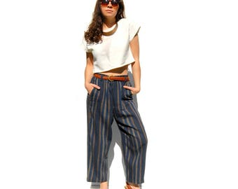 Blue/tan/taupe striped high waist wide leg capris 1990s 90s VINTAGE