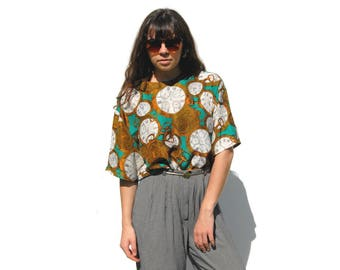 Teal and gold clocks and compasses silk oversize short sleeve blouse 1990s 90s VINTAGE