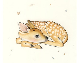 LOVE deer print. Fawn, bambi, doe art.