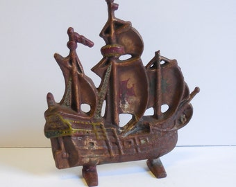 Antique Cast iron Door Stop Ship Spanish Galleon Mast Doorstop Old World nautical Aged patina bookend architectural