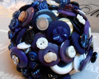 NANTUCKET Vintage Button Bouquet in NavyBlue Purple for Easter Mothers Day or Birthday Gift Wedding or Decor OOAK