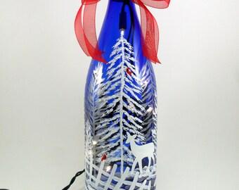 """Lighted Wine Bottle Deer Cardinal Cobalt Blue Hand Painted 12 1/4"""" H x 3 3/8"""" Dia. Bottle Light"""