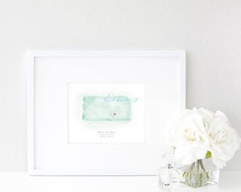 Kansas Watercolor Map | Destination Map Print | Personalized Watercolor Map | Honeymoon Map | Anniversary Map | Watercolor Wedding Map