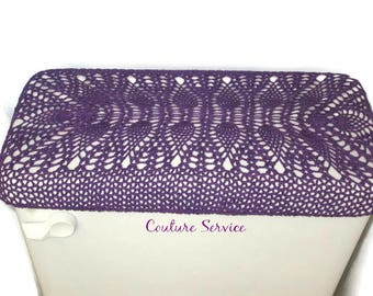 Crocheted Tank or Lid Cover, Pineapple Lace, Cotton, Purple, Toilet Seat Cover, Toilet Tank Cover, Commode Tank Cover, Commode Lid Cover