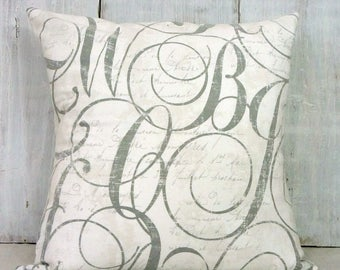 Gray and White French Script Pillow Cover - Penmanship Pillow- Romantic French Cottage Decor