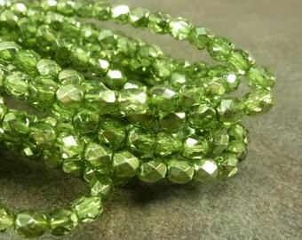 Olivine Mirror Czech Glass Firepolish Beads 4mm Faceted Glass 50pc Metallic