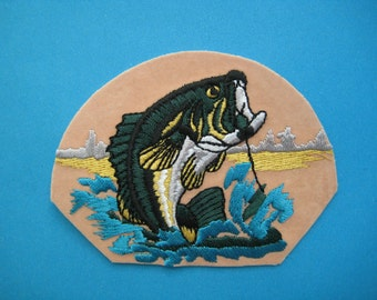 Iron-on embroidered Patch FISHING 3.75 inch