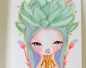 Succulent girl - watercolor illustration, succulent original painting, succulent illustration, drawing, cactus, tiny art