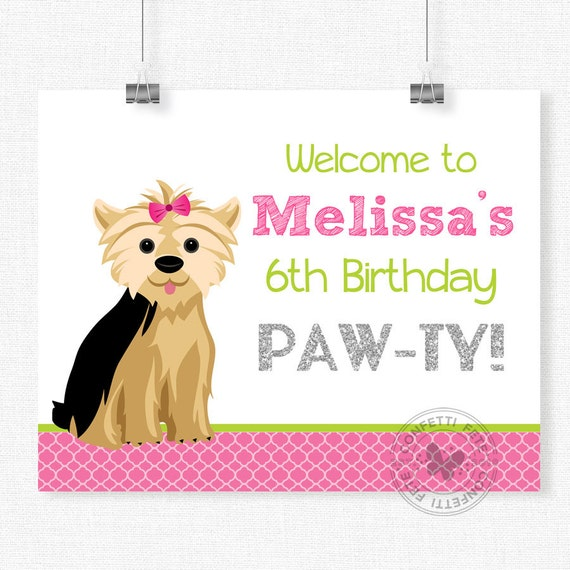 Puppy Party Welcome Sign Yorkie Birthday Sign Dog Door Sign