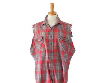 50% half off sale // Vintage 80s Cut Off Sleeveless Flannel Shirt // Men L Red Plaid // Punk Grunge, Andover Trail