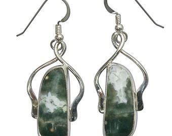 Ocean Jasper and Sterling Silver Dangle Earrings eocjf2764