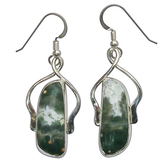 Ocean Jasper and Sterling Silver Dangle Earrings eocjf2764