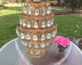 "MID CENTURY GOLD CHANDELIEr / Opalescent Crystals / 23"" Gold Filigree Swag Wedding Cake Chandelier / Breathtaking Crystals Retro Daisy Girl"