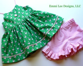 Girls SummerTop,Flamingo,Little Girl Top,ToddlerTop,Pink,Gingham,Green,Sizes 12MO,18MO,2T,3T,4T, 5T,6,7,8,10