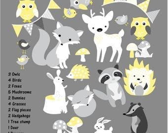 Kids Wall Decals Forest Decals, Nursery Wall Decals, Fox Decals. Yellow Wall Decals