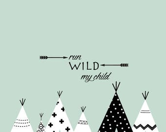 Tribal teepee nursery decals, tribal nursery lettering decals, wigwam decal, boho teepee, young and wild baby decals,teepee wall decals
