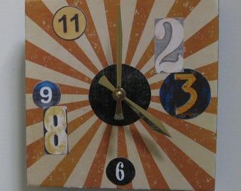 Wall clock. OOAK clock. Avant garde clock. Unique clock. Funky clock. Square clock. Special price.