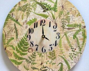 Wall clock. Unique wall clock.  Large wall clock. Nature clock.  Modern clock. Vinyl clock. Recycled vinyl record.