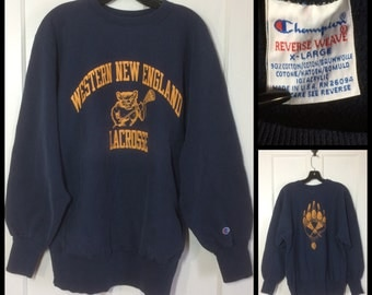 1980s Western New England University Champion Reverse Weave Sweatshirt made in USA size XL Blue Lacrosse Golden Bears printed front and back