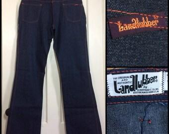 1970's Landlubber dark wash Indigo blue denim Bell Bottom Hip Hugger boyfriend boho hippie Flare Jeans 36x35 Tall Talon zipper #293