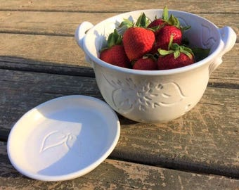 Ceramic Berry Bowl, Small Colander with Dahlias and Leaves in Soft Satin White