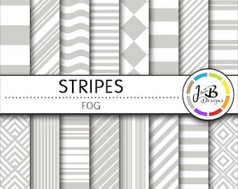 Stripes Digital Paper, Fog, Gray, Gray and White, Stripes, Nautical, Digital Paper, Digital Download, Scrapbook Paper, Digital Paper Pack