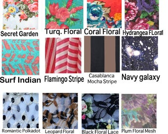 Coralie Beatrix Print Swatches- Stripe, Floral, Galaxy, etc.  .99 cents PER Color Sample- Free Shipping in US