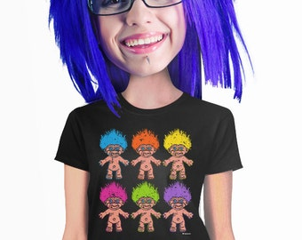 retro troll doll t-shirt for troll lovers funny cute kitschy gift for geeks or geeky teenage girls students and fantasy fans womans s-2xl