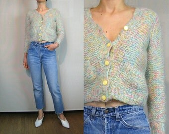 70s Rainbow Marled MOHAIR Cropped Cardigan with Pockets